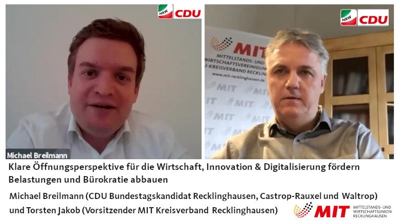 CDU Bundestagskandidat Michel Breilmann und MIT Vorsitzender Torsten Jakob im Gespräch